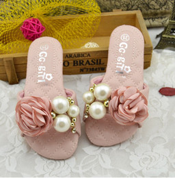 Wholesale Summer Slipper Princess Sandals - Baby girls slippers kids stereo flowers pearl Flat Sandals kids Princess PU Leather beach Sandals 2017 summer new Children Shoes T4749