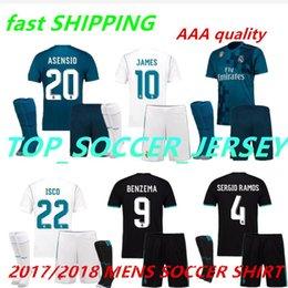 Wholesale Flashing Shirts - 2018 2017 Real Madrid Home AWAY Soccer Jersey Kit socks 17 18 third blue soccer shirt Ronaldo Bale Football uniforms Asensio SERGIO RAMOS
