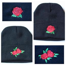Wholesale Roses Crochet - Rose Flower Women'Knit Hat Embroidery Knitted Hats Female Winter Caps Men Beanies Girl Caps Crochet Hats CCA7466 30pcs