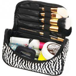 Wholesale Zebra Cosmetic - Wholesale- High Quality Lady Makeup Cosmetic Bag Nylon+Leather Black White Toiletry Bag Zebra Travel Handbag Organizer