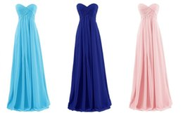 Wholesale Girls Simple Party Dresses - 2018 Simple Chiffon Bridesmaid Dresses for Wedding Guest Party Girls Cheap Sexy Sweetheart Floor Length Lace up Elegant Formal Gowns