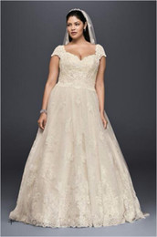 Wholesale Sequin Sleeveless Full Length Gown - 2017 Plus Size Lace Cap Sleeves Ball Gown Wedding Dresses with Full Lace applique sequins detail 8CWG768 Sweep Train Bridal Gowns