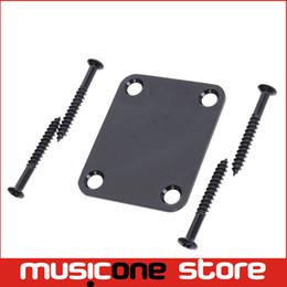 Wholesale Electric Guitar Neck Part - Black Electric Bass Guitar Neck Joint Plates Guitar Neck Joint Connecting Strengthen Back Plate Guitar Parts