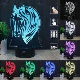 Wholesale Led Horse Night Light - lovelty Horse 3D Lamp 7 Color Change Led USB Acrylic Small Night Light Indoor Atmosphere Lamp Kids' Toys And Gifts