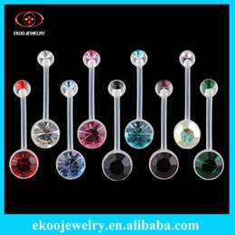 Wholesale Gem Body Button - (Min. order $10) Body Jewelry Bio Flexible Banana Double Gem Pregnancy Belly Ring 14 Gauge 5 8'' One of Each 9 Colors Lot of 9