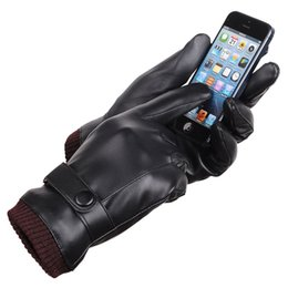 Wholesale High Fashion Leather Gloves - 1 Pair New Fashion Men High Quality Winter Warm Super Driving Mittens Male Full Finger Warm PU Leather Gloves