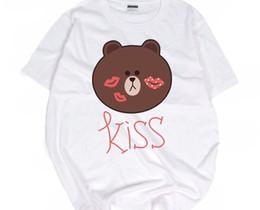 Wholesale Kong Dress - Hong Kong Wind Dongguk door ULZZANG Europe and Japanese Harajuku cartoon of Brown bear and couples dress T-shirt