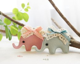 Wholesale Elephant Blue Baby - Wholesale 10pcs lot Pink Blue Cute Elephant with Lace Bow Baby Girls Hairpins Fashion Cartoon Animal Girls Hairclip Baby Hair Accessories