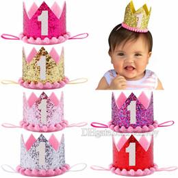 Wholesale wholesale birthday hats crowns - Baby Girls Crown headbands Hat girls Kids 1st Birthday Party Tiara hairbands Cap princess hair accessories Glitter Sparkle Headbands KHA535