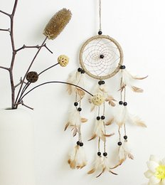 Wholesale Handmade Crafts For Home Decoration - Handmade Indian Tradition Dream Catcher Net With Feathers Beads For Wall Hanging Decoration Home Room Decor Craft Wish Gift B952L