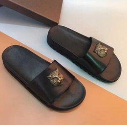 Wholesale Embellished Sandals - 2017 summer mens fashion luxury metal tiger Embellished black Genuine cow Leather flat Platform Slides Sandals slippers