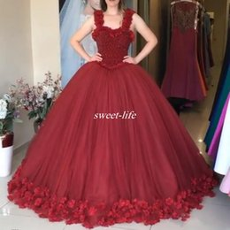 Wholesale Runway Dresses For Girls - Dark Red Ball Gown Evening Dresses Beading with 3D Flowers Spaghetti 2017 Plus Size Gowns for Prom Cheap Sweet 16 Girls Quinceanera Dresses