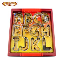 Wholesale Letter Biscuit - Kuki -Fun 3d Big Size Alphabet Letter Cookie Cutter Set Stainless Steel Biscuit Mould Fondant Cake Decorating Tools