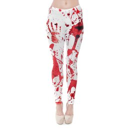Wholesale Blood Red Color - Women Leggings Red Blood Fingerprint Digital 3D Graphic Full Print Girl Skinny Stretchy Gym Yoga Wear Pants Fitness Capris Trousers (J31167)
