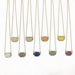 Wholesale Druzy Fashion Necklaces - Wholesale-Fashion Oval Druzy Choker Pendant Necklace for Women Quartze Oval Pendant Druzy Necklace Hot Selling