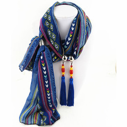Wholesale Chiffon Scarf Necklace - Printed chiffon tassel Scarves jewelry necklace SCARF for women new arrivel