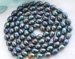 AAA 10-12mm Nuevo collar de perlas naturales negro de Tahití 48 pulgadas 14k oro desde fabricantes