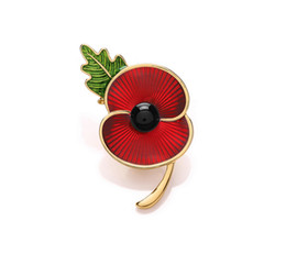 "Wholesale Enamel Pins - Wholesale- 2"" Red Enamel Gold Tone British Poppy Brooch Flower Pin with Leaf Souvenir"