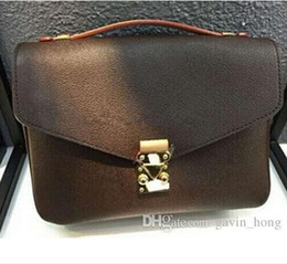 Wholesale vintage cross body - 2017 Free shipping high quality genuine leather women's Brown message handbag pochette Metis shoulder bags crossbody Retro bags