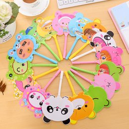 Wholesale Summer Cute Fan - 2017 Hand fan ball-point pen cute convenient ball-point pen with cartoon for children stationery back to school Favor gift in summer