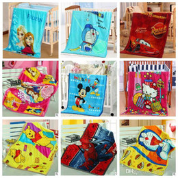 Wholesale Baby Beds Cartoons - Baby Frozen Spiderman Blankets Mickey Minnie Mouse Swadling Pooh Doraemon Bedding Mcqueen Car Elsa Princess Cartoon Flannel Blankets B1690