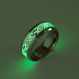 Wholesale Black Dragon Jewelry - 2017 Fashion Mens Jewelry Never Fade Luminous Rings Dragons Pattern Stainless steel Rings Wedding Jewelry for Women Ring