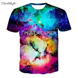 Wholesale Galaxy S I - Wholesale- 2016 New arrivals brand clothing 3d print t shirt men fashion hip hop galaxy t shirt I AM DREAMER graphics tees harajuku tshirt