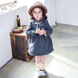 Wholesale Children S Winter Skirts - Autumn and winter new long - sleeved children 's dress cotton plus velvet Princess skirt girl dress striped sweater