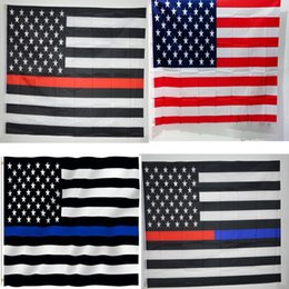 90 150cm Thin Blue Line Usa Flag With Grommets American Police Flags Home Office Garden Decor