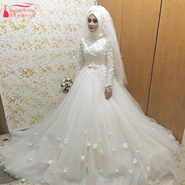 Wholesale China Wedding Dresses Online - White Tulle Muslim African Wedding Dresses 3D Flower Modern Bridal Dresses online shop china Vestido De Noiva