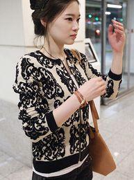 Wholesale Autumn Floral Blazer - Wholesale-2016 new autumn winter women knit sweater loose knit blazer black porcelain blue cardigan knitted sweaters Print WL2031