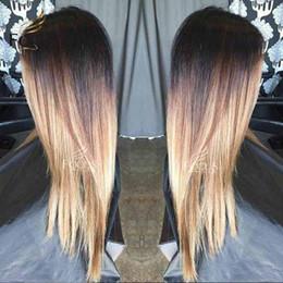Seidiges gerades Menschenhaar-Perücken-brasilianische volle Spitzeperücke Ombre-Honig-Blondine 1B 4 27 Spitze-Front-Perücke mit dem Baby-Haar von Fabrikanten