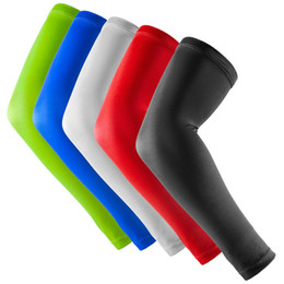 Wholesale Black Basketball Arm Sleeve - New Brand A Pair Sport basketball Arm pads Safety Elbow Pads Solid Color Arm Support Calf Compression arm sleeves Sport Protector R10