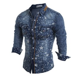 Wholesale Men S Cargo Shirts - Wholesale- Wholesale & retail new Denim Slim Shirts Men Long Sleeve Fashion Printed Design jeans Casual Cargo shirt A variety of styles