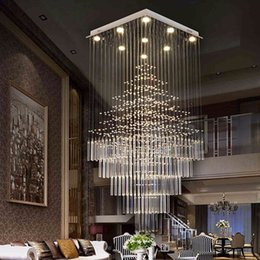 Wholesale rectangular stainless steel - Modern LED rectangular crystal chandelier Lamps stairs Hanging Pendant Lamps Fixtures For Villa Hotel Mall with AC110-240v