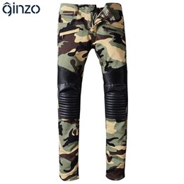 Wholesale Leather Denim Jeans Men - Wholesale- Men's camouflage PU leather patchwork spliced biker jeans for moto Casual fashion pleated denim pants Long trousers
