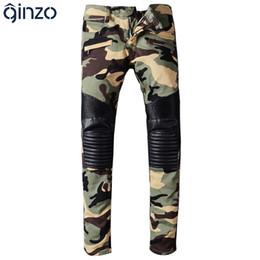 Wholesale Leather Pants Beige - Wholesale- Men's camouflage PU leather patchwork spliced biker jeans for moto Casual fashion pleated denim pants Long trousers