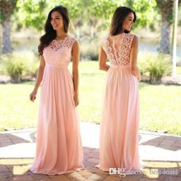 Wholesale Elegant Back Wedding - Lace Applique Elegant Coral Bridesmaid Dresses Wedding Guest Dress Sheer Back Zipper Sweep Train Chiffon Cheap Formal Gown 2016
