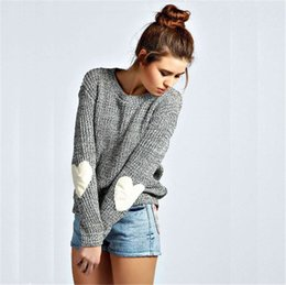 Wholesale Women S Sweater Hearts - Wholesale-White Heart Patchwork Long-Sleeved Casual Solid O Neck Pullover Knitted Sweater Grey Color Tops For Sexy Girls LX205