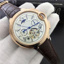Wholesale Tourbillon Watch Gold - Promotion Top Luxury Brand Watch Genuine leather Tourbillon Watch Automatic Wristwatch Men Mechanical steel Watches gold relogio masculino