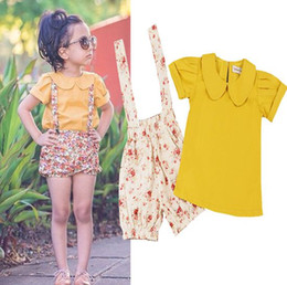 Wholesale Childrens Floral Pants - summer 2017 girls boutique clothing sets baby clothes kids peter pan collar shirts + floral suspender shorts pants girls outfits childrens