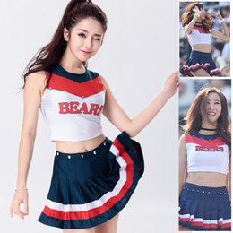 Wholesale Cosplay School Uniform Skirt - 2017 Sexy Nightclub Cosplay School Basketball Cheerleader Costume Cheer Girls Uniform Party Outfit Split Type Tops with Skirt for Sports