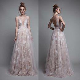 Wholesale Boho Dress Petite - Light Pink 2017 Berta Bridal Gowns Summer Beach Boho Lace Prom Dresses Sexy Deep V Neck Backless Floor Length Guest Dresses