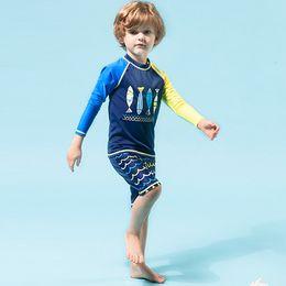 Wholesale Lycra Pants For Kids - Character boys swimwear long sleeve short pants children's beach wear little kids bathing suit for young boy swimsuit two pieces