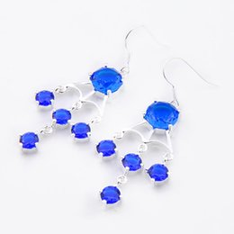 Wholesale Wholesalers Wedding Gifts Australia - Free Shipping--5Pieces lot Holiday Gift 925 Sterling Silver Artistic blue crystal earrings e0026 Russia American Australia Wedding earring