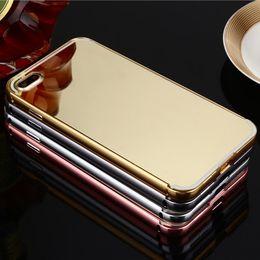 Colores de manzana 5s online-Funda de espejo electrochapado para iPhone 7 Plus 6 5s Samsung S7 S6 Ultrathin Plating cubierta trasera 4 colores