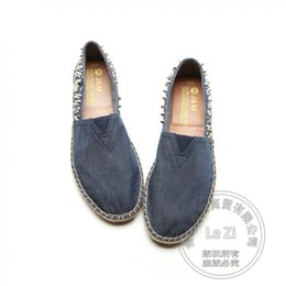 Wholesale Ventilated Men Casual Shoes - Printing Leather Trendy Spikes Hemp Rope Mens Shoes Casual Jean Small Fresh Originality Slipon Shoes Solid Color Ventilate