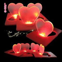 Wholesale Heart Shaped Pockets - Heart Shape Cards Lights Folding Pocket Christmas Lamp PVC Lampshade Thin Style LED Card Light Hot Sale 1 28jg B