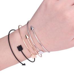 Wholesale Arrow Bracelet Bangle - Arrow Bracelets Fashion Jewelry Open Bracelets for Woman Alloy Bangles Adjustable Cuff Bangles Bracelets Gold Silver Black
