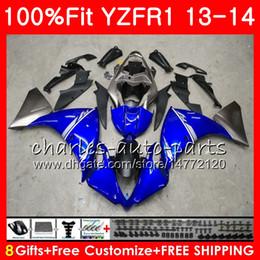 Iniezione Corpo Per YAMAHA YZF 1000 YZF R 1 YZF-1000 YZF-R1 13 14 86HM1 YZF1000 YZFR1 13 14 YZF R1 2013 2014 Kit carena 100% Vestibilità Stock blu da